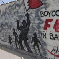 Un grafitti contra la F1 en Bahréin en protesta contra el tratamiento de los manifestantes.