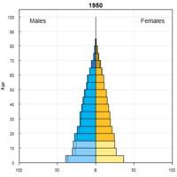 Evolución de la pirámide de población por sexos en China entre 1950 y 2015 y perspectivas de desarrollo en 2050 y 2100.
