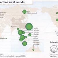 """La diáspora china en el mundo. Las """"chinatown"""". Datos de 2008"""