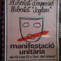 Convocatoria de manifestación unitaria a favor de Els Joglars.JPG