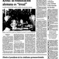 """Krenz: la reunificación alemana es """"irreal"""""""