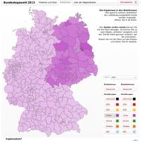 Mapa porcentual de votaciones en las elecciones alemanas de 2013.