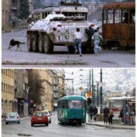 Plaza Skenderia, el 10 de agosto de 1993. La misma plaza, en la actualidad.