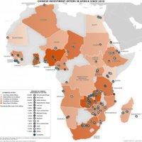 Mapa de las principales inversiones de China en África desde 2010.