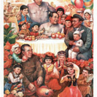 Celebrando el festival de la jubilación. Una escena imaginaria de una agradable reunión entre Mao,  Zhou Enlai, Zhu De y de Liu Shaoqi.